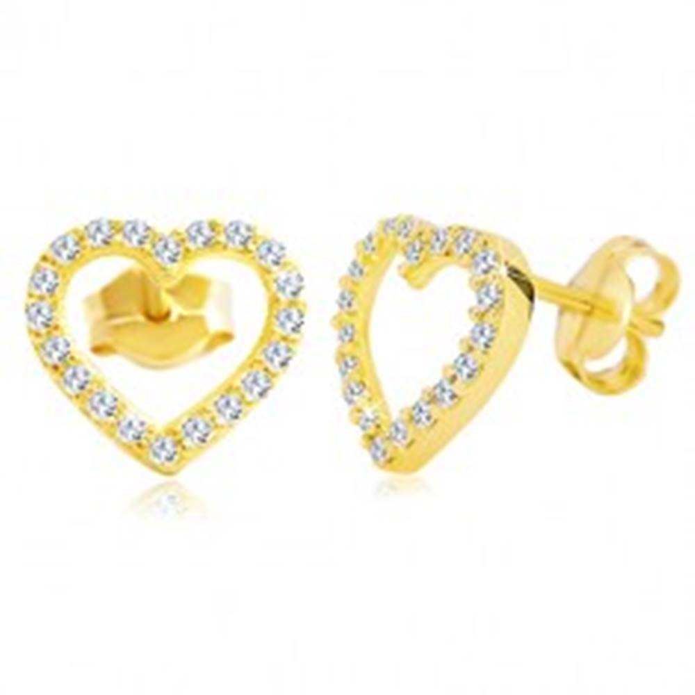 Šperky eshop Náušnice v žltom 14K zlate - obrys srdca zdobený čírymi zirkónmi