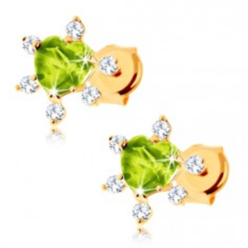 Šperky eshop Náušnice v žltom 14K zlate - vybrúsené zelené srdiečko, číre zirkóniky