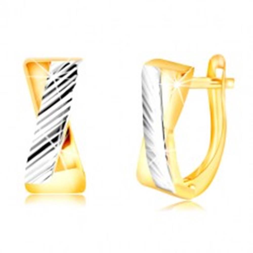 Šperky eshop Náušnice zo 14K zlata - dvojfarebné prekrížené línie, šikmé zárezy