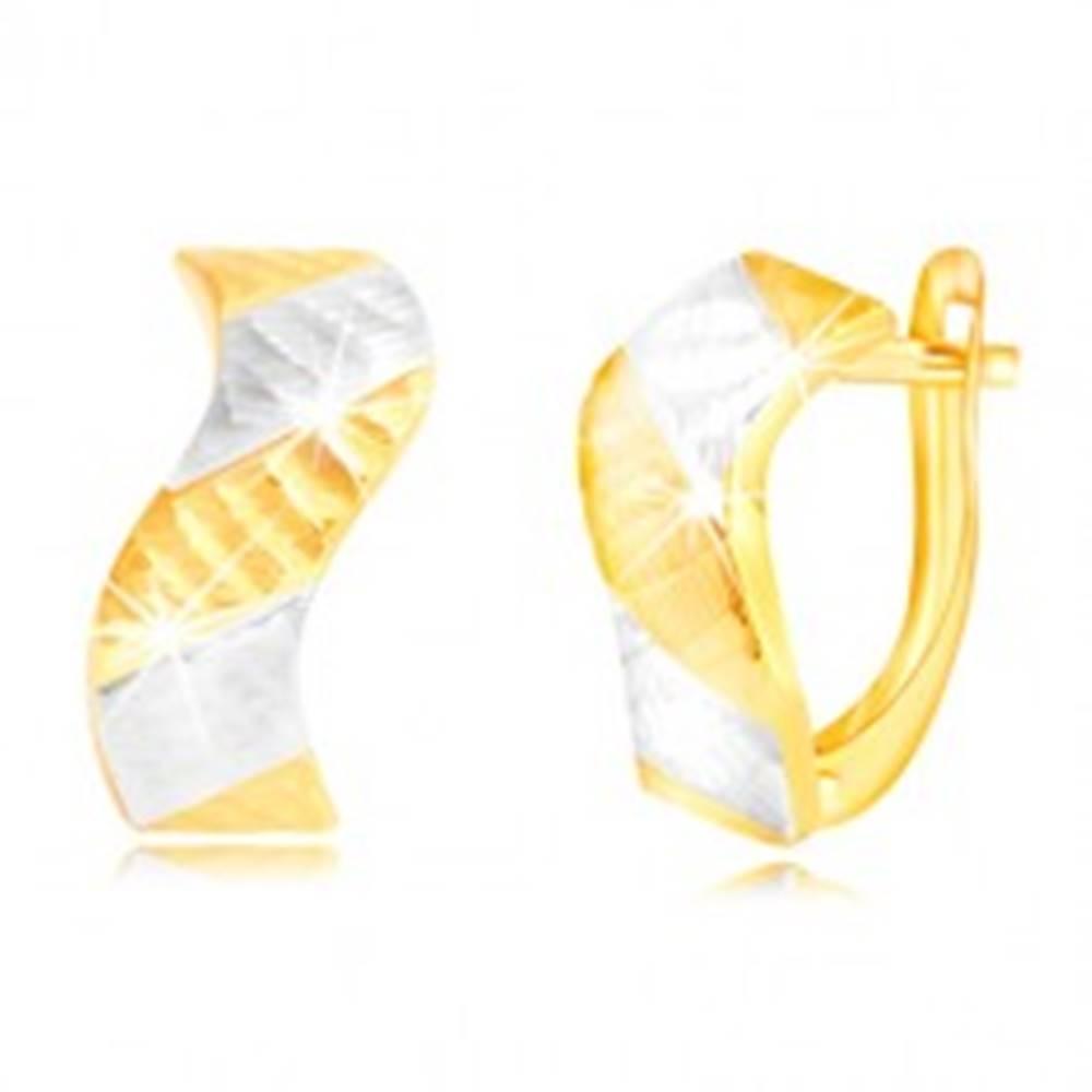 Šperky eshop Náušnice zo zlata 585 - ligotavá vlnka so zárezmi a dvojfarebnými pásmi
