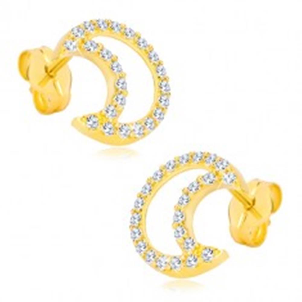 Šperky eshop Náušnice zo žltého 14K zlata - kontúra mesiaca vykladaná zirkónmi