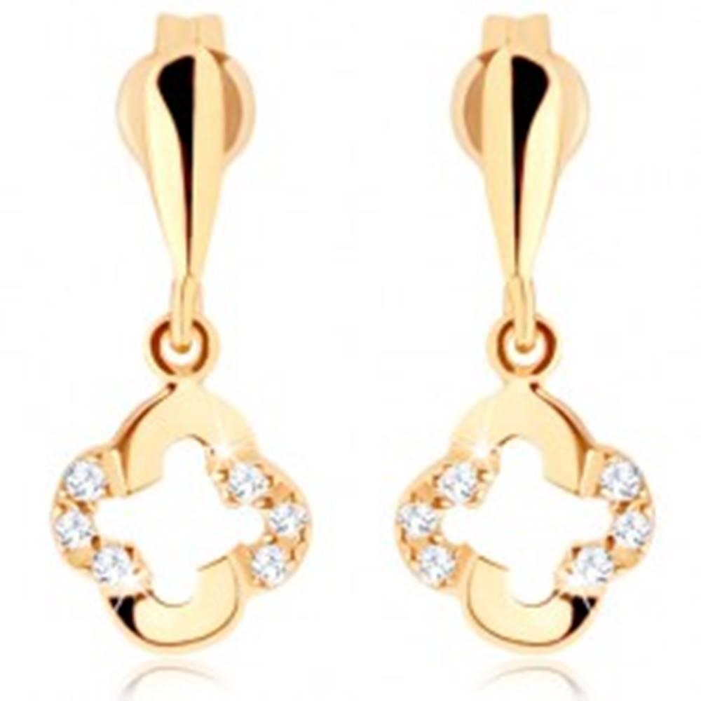 Šperky eshop Náušnice zo žltého 9K zlata - obrátená kvapka, obrys kvietka, zirkóny