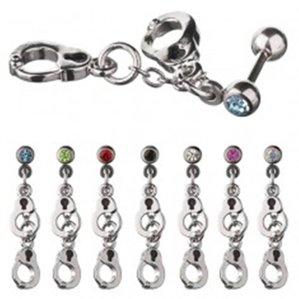Šperky eshop Oceľový piercing do ucha - činka s putami, kamienok - Farba zirkónu: Červená - R