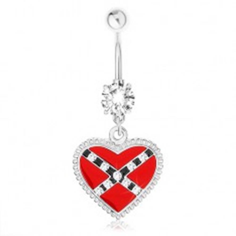 Šperky eshop Piercing do pupka z ocele 316L, červené srdce, prekrížené pásy, vrúbky
