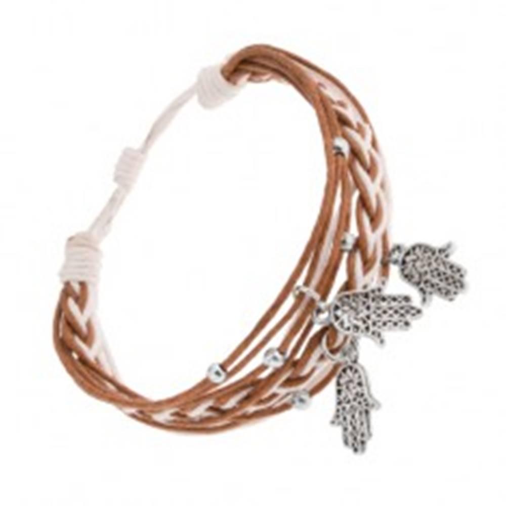 Šperky eshop Pletený náramok, šnúrky škoricovej a bielej farby, prívesky - ruka Fatimy
