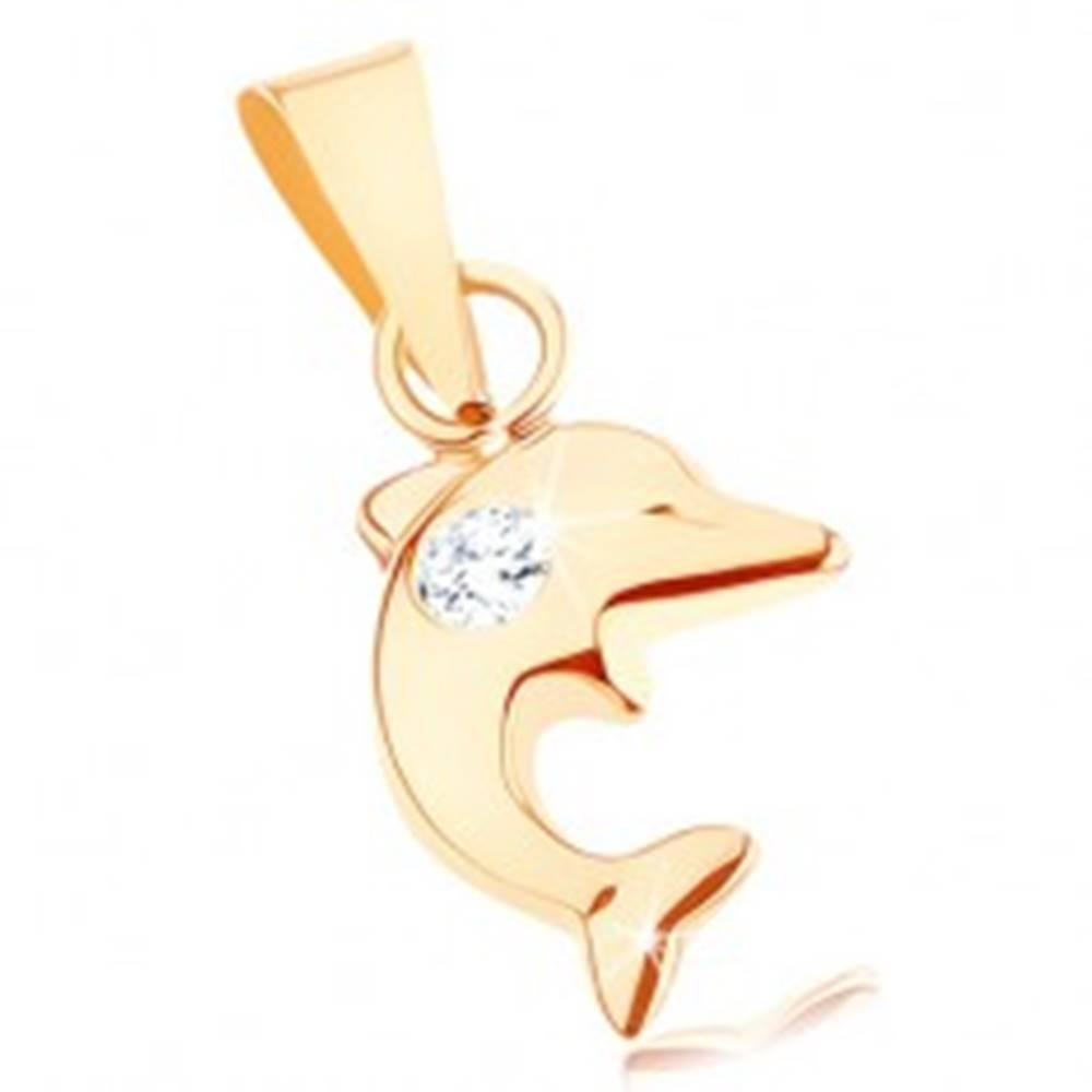 Šperky eshop Prívesok v žltom 9K zlate - malý skáčuci delfín, okrúhly číry zirkón