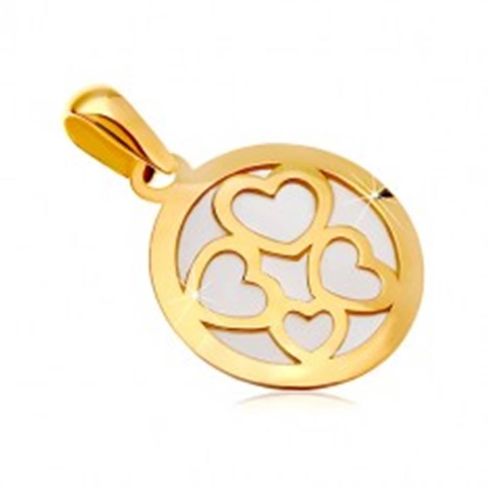 Šperky eshop Prívesok zo žltého zlata 585 - kruh vyplnený bielou perleťou, obrysy štyroch sŕdc