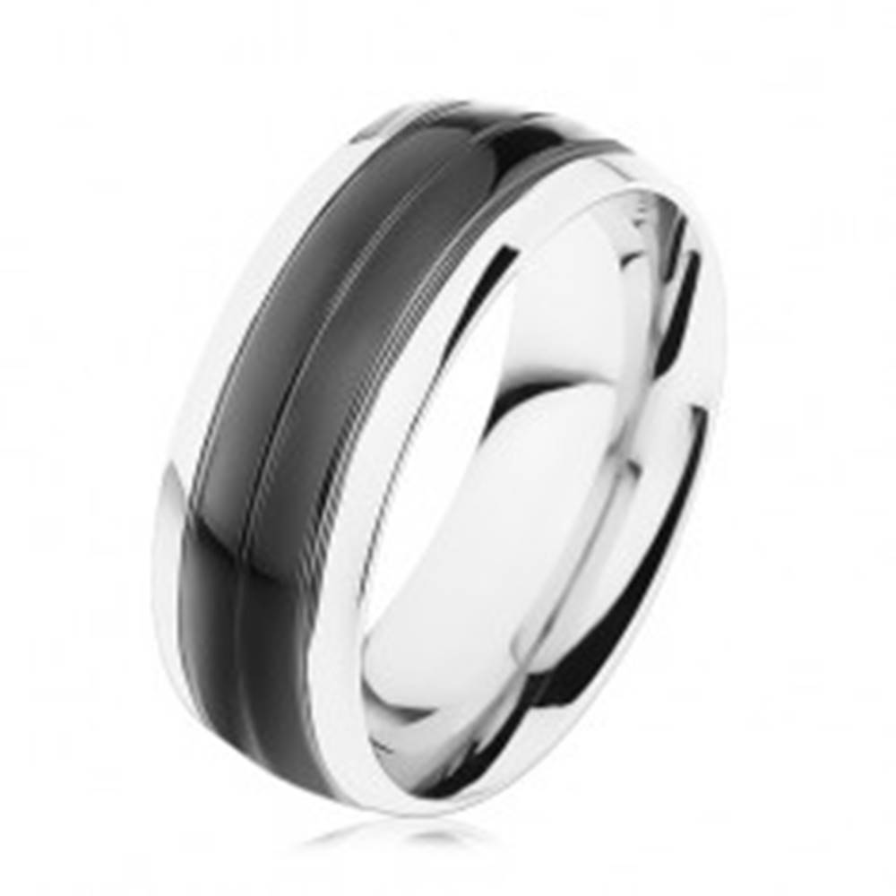 Šperky eshop Prsteň z ocele 316L, čierny pás, lemy striebornej farby, vysoký lesk - Veľkosť: 56 mm