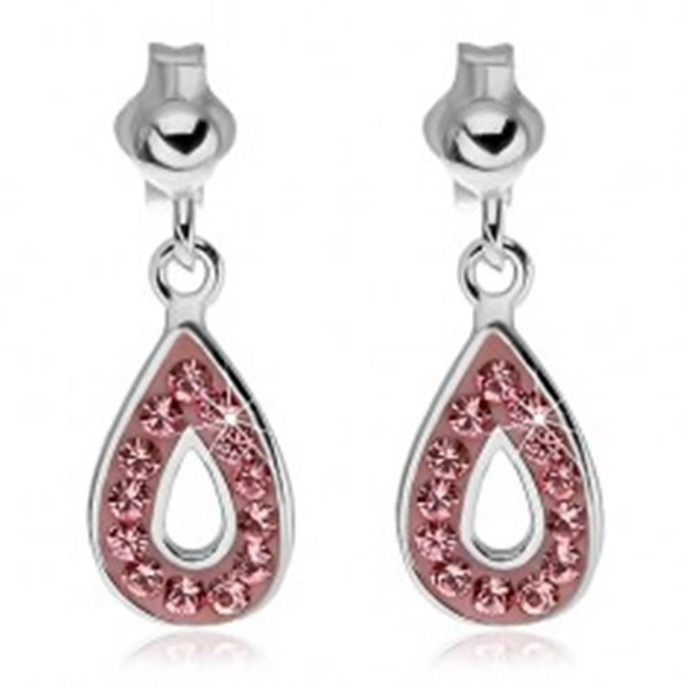 Šperky eshop Strieborné náušnice 925 - visiaca slza s ružovými zirkónmi