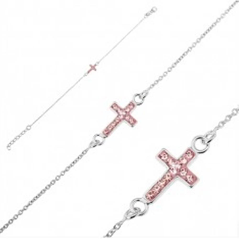 Šperky eshop Strieborný náramok 925 - krížik s ružovými zirkónmi