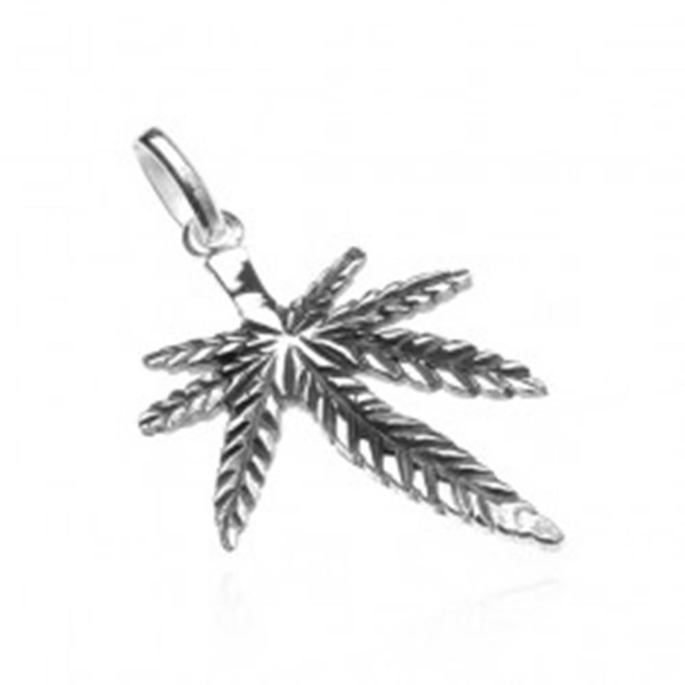 Šperky eshop Strieborný prívesok 925 - patinovaná marihuana, predĺžený lístok v strede