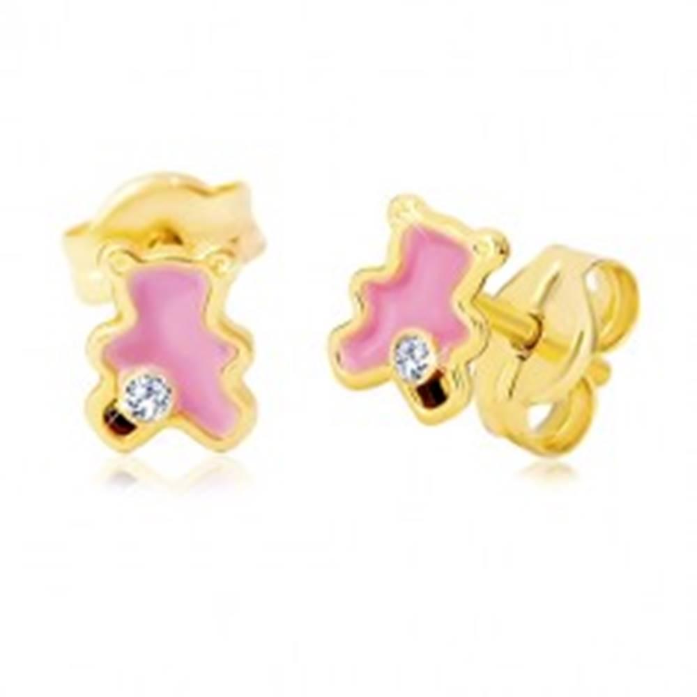 Šperky eshop Zlaté 14K náušnice, medvedík zdobený ružovou glazúrou a zirkónom