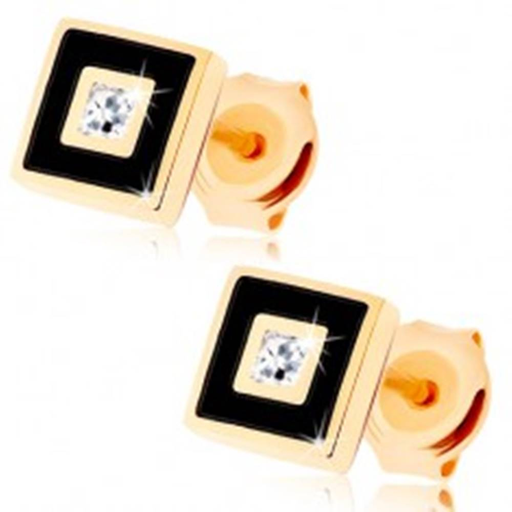Šperky eshop Zlaté náušnice 375 - štvorček zdobený čiernou glazúrou, číry zirkónik