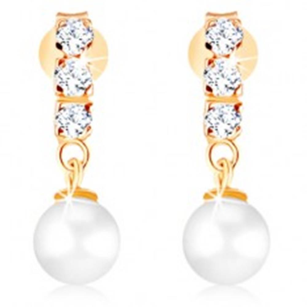 Šperky eshop Zlaté náušnice 375 - tri číre zirkóny, guľatá perla bielej farby