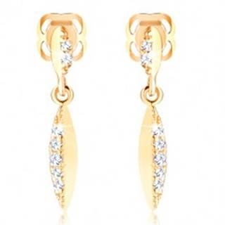Briliantové náušnice zo žltého zlata 585 - úzky list so vsadenými diamantmi