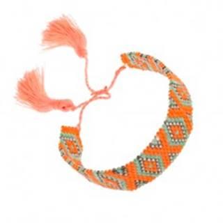 Náramok z korálok, oranžová, zelená, sivá farba, vzor - kosoštvorce