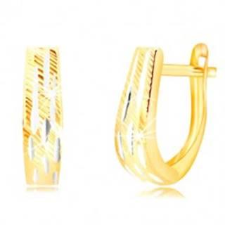 Náušnice v kombinovanom zlate 585 - rozširujúci sa pás so zárezmi