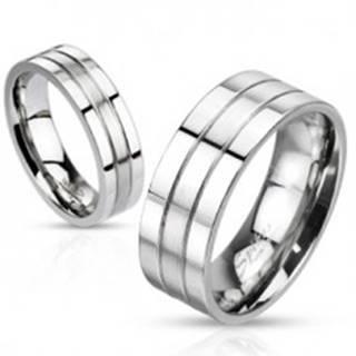 Oceľový prsteň - strieborná farba, obrúčka s dvoma ryhami, matno-lesklá - Veľkosť: 49 mm