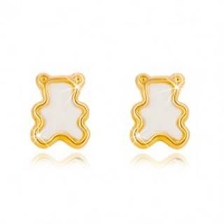 Puzetové náušnice zo žltého 14K zlata s prírodnou perleťou - medvedík