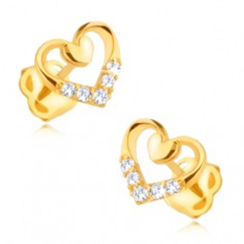 Šperky eshop Diamantové náušnice v 14K zlate - obrys srdca s menším srdiečkom a briliantmi