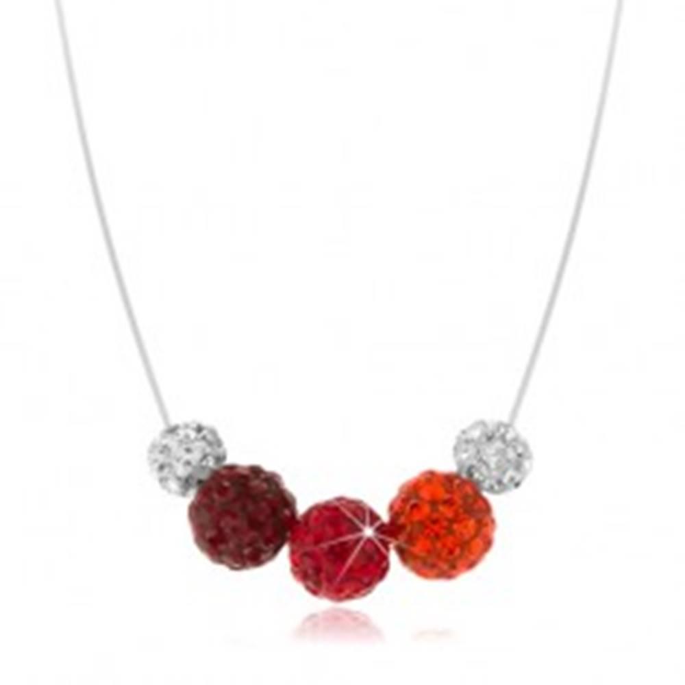 Šperky eshop Náhrdelník zo striebra 925, farebné guličky na silone, Preciosa kryštály