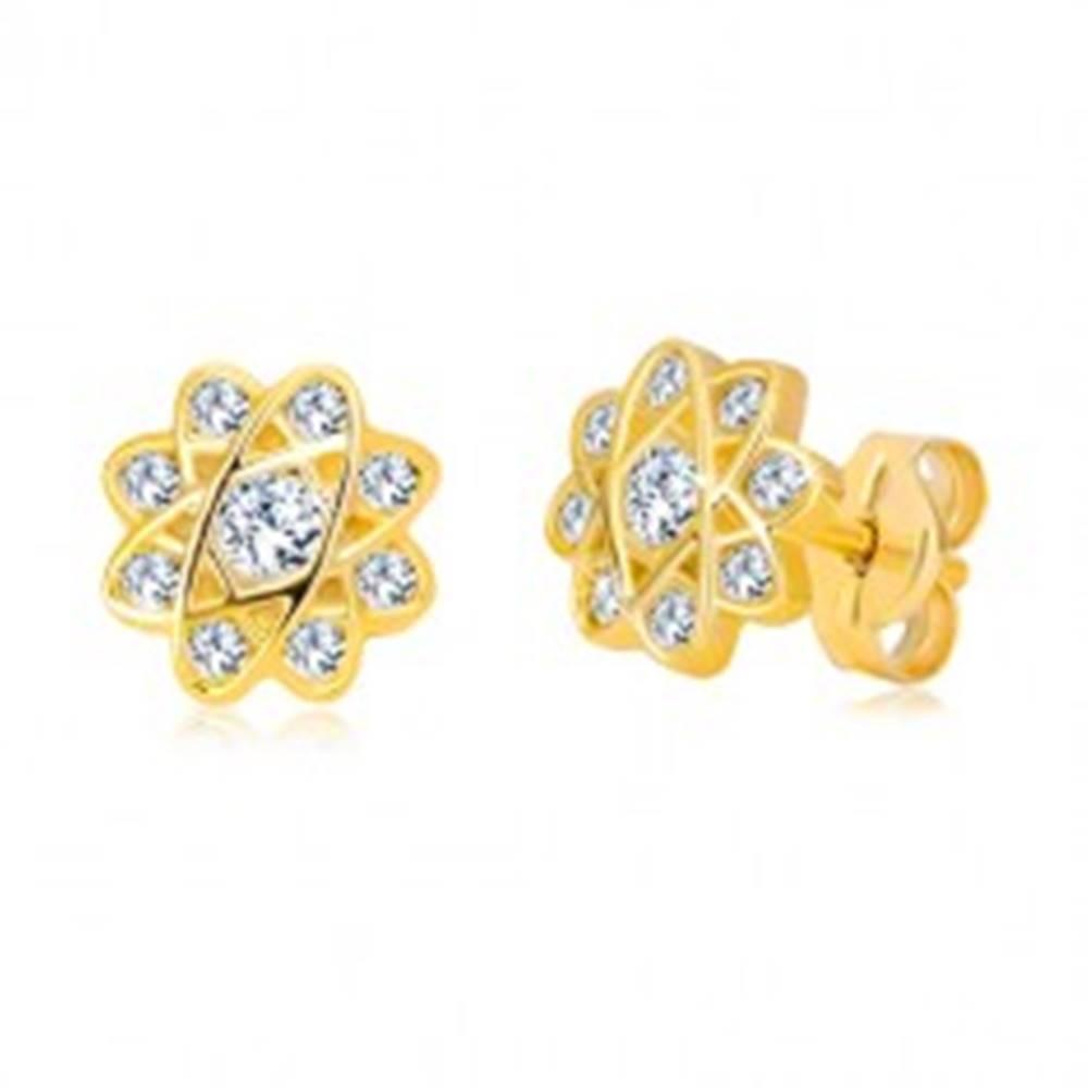 Šperky eshop Náušnice v žltom zlate 585 - kvet s oválnymi líniami a zirkónmi, puzetky