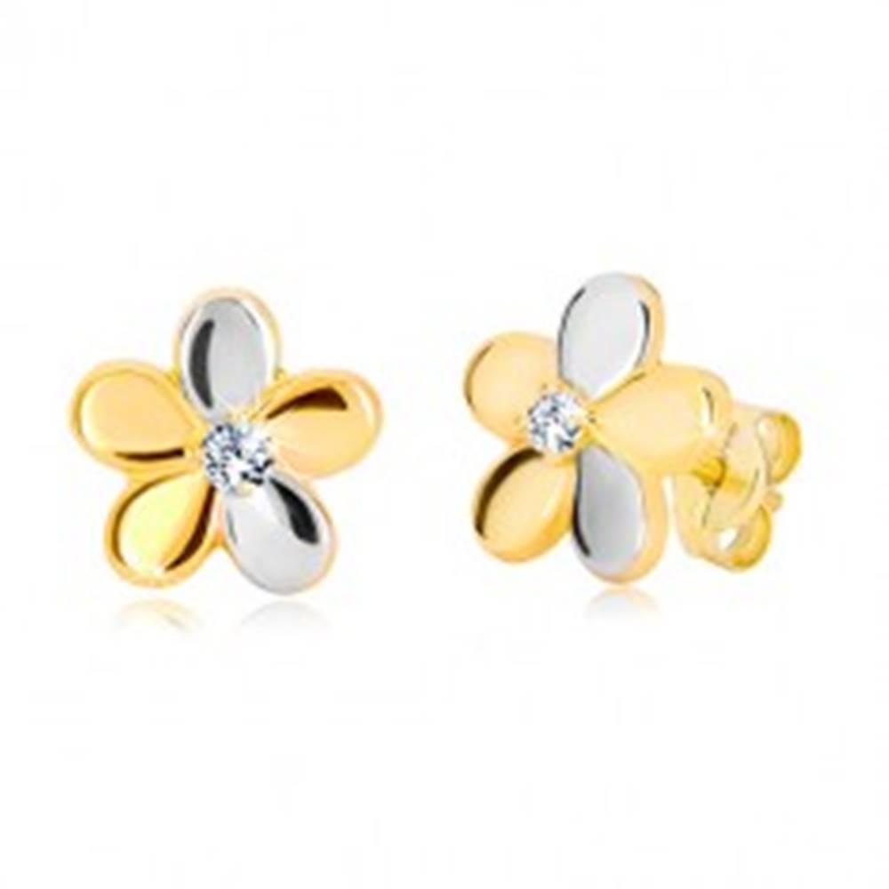 Šperky eshop Náušnice z kombinovaného zlata 585 - lesklý dvojfarebný kvet, zirkón