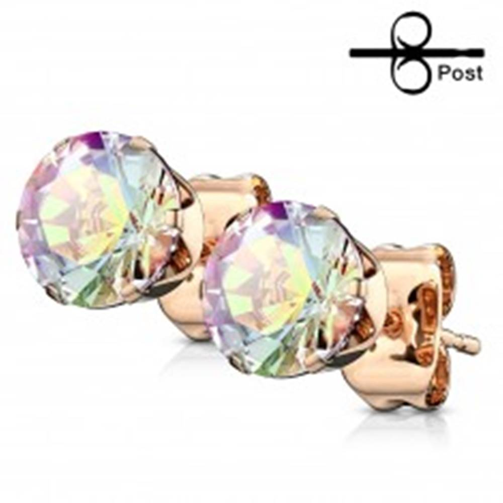 Šperky eshop Náušnice z ocele 316L medenej farby - brúsený dúhový zirkón, puzetky - Priemer: 3 mm