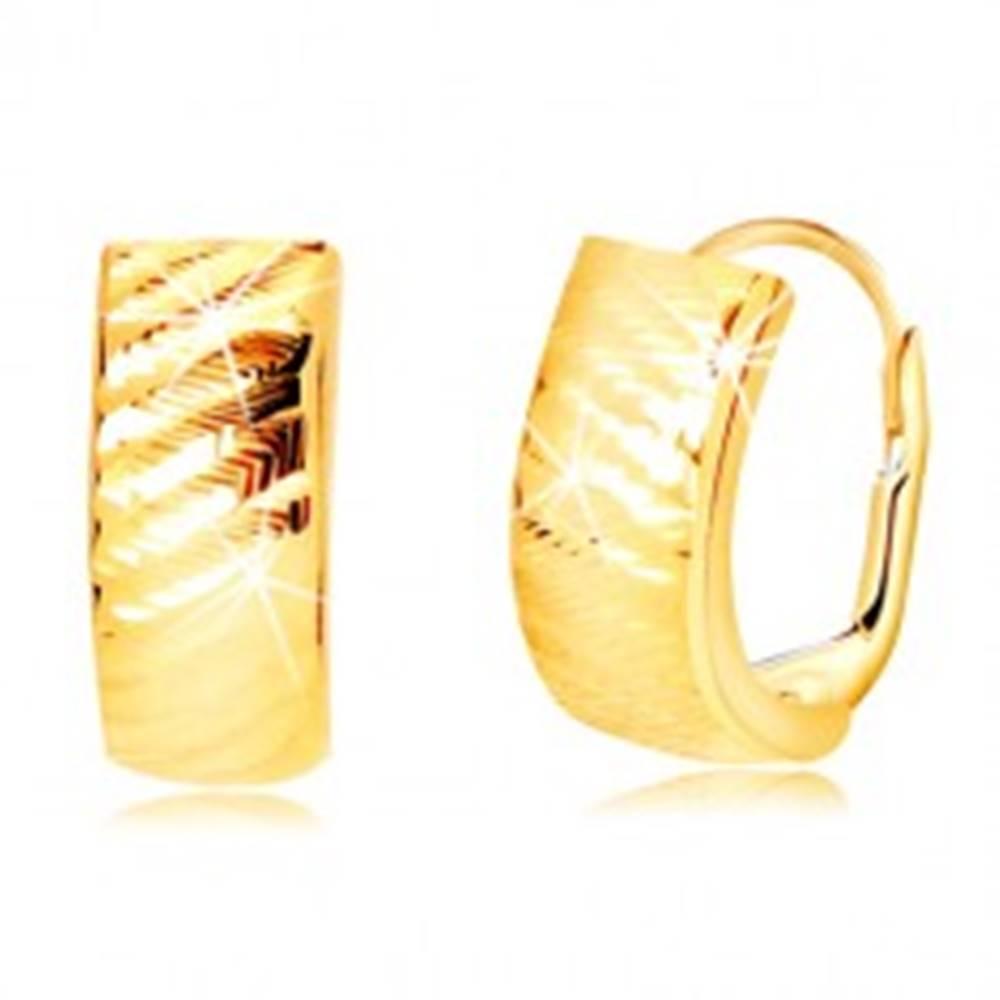 Šperky eshop Náušnice zo žltého zlata 585 - oblúky so šikmými zárezmi, dámsky patent