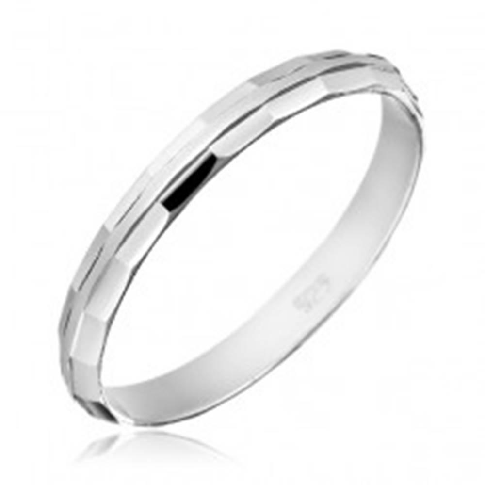 Šperky eshop Obrúčka zo striebra 925 - skosené lesklé okraje - Veľkosť: 50 mm