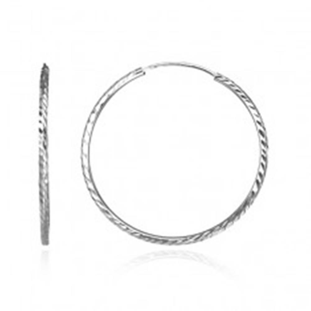 Šperky eshop Okrúhle náušnice zo striebra 925 - gravírované zrnká, 40 mm