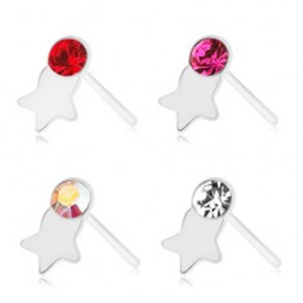 Šperky eshop Piercing do nosa, striebro 925, rovný, farebný zirkónik, lesklá hviezdička - Farba zirkónu: Červená - R