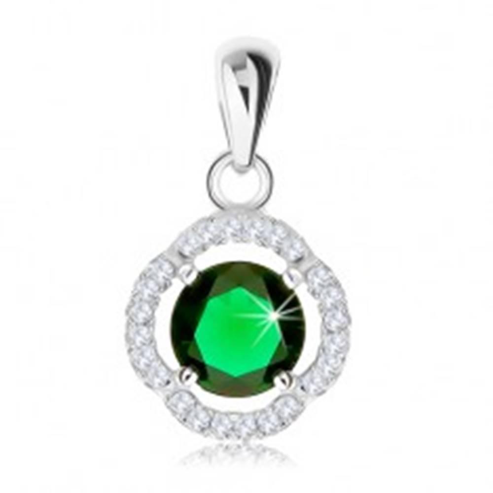 Šperky eshop Prívesok zo striebra 925, okrúhly zelený zirkón, zvlnená ligotavá kontúra