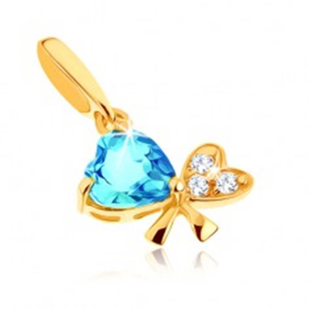 Šperky eshop Prívesok zo žltého 14K zlata - modrý topás, mašľa z dvoch sŕdc, číre zirkóny