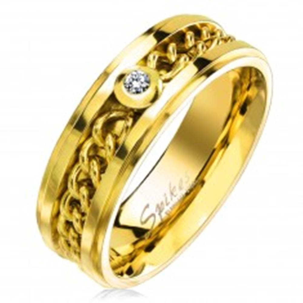 Šperky eshop Prsteň z chirurgickej ocele zlatej farby s retiazkou a čírym zirkónom, 7 mm - Veľkosť: 49 mm