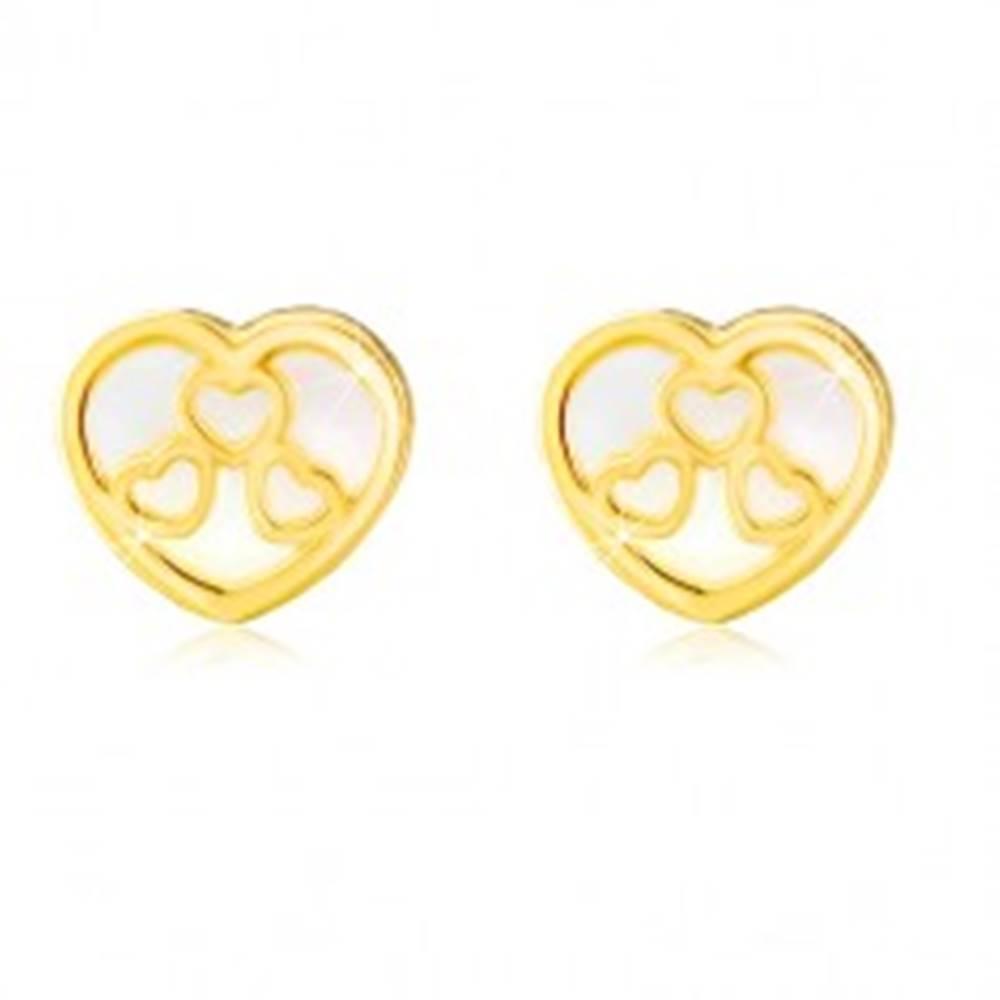 Šperky eshop Puzetové náušnice v žltom 14K zlate - srdiečko s prírodnou perleťou a výrezmi