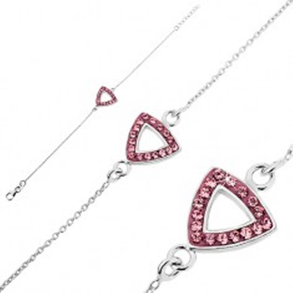 Šperky eshop Strieborná retiazka na ruku 925 - trojuholník s výsekom a zirkónmi
