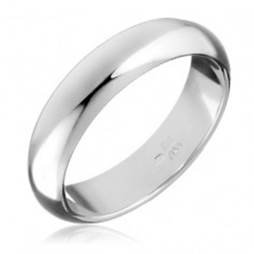 Šperky eshop Strieborný prsteň 925 - hladká, mierne vypuklá obrúčka - Veľkosť: 49 mm