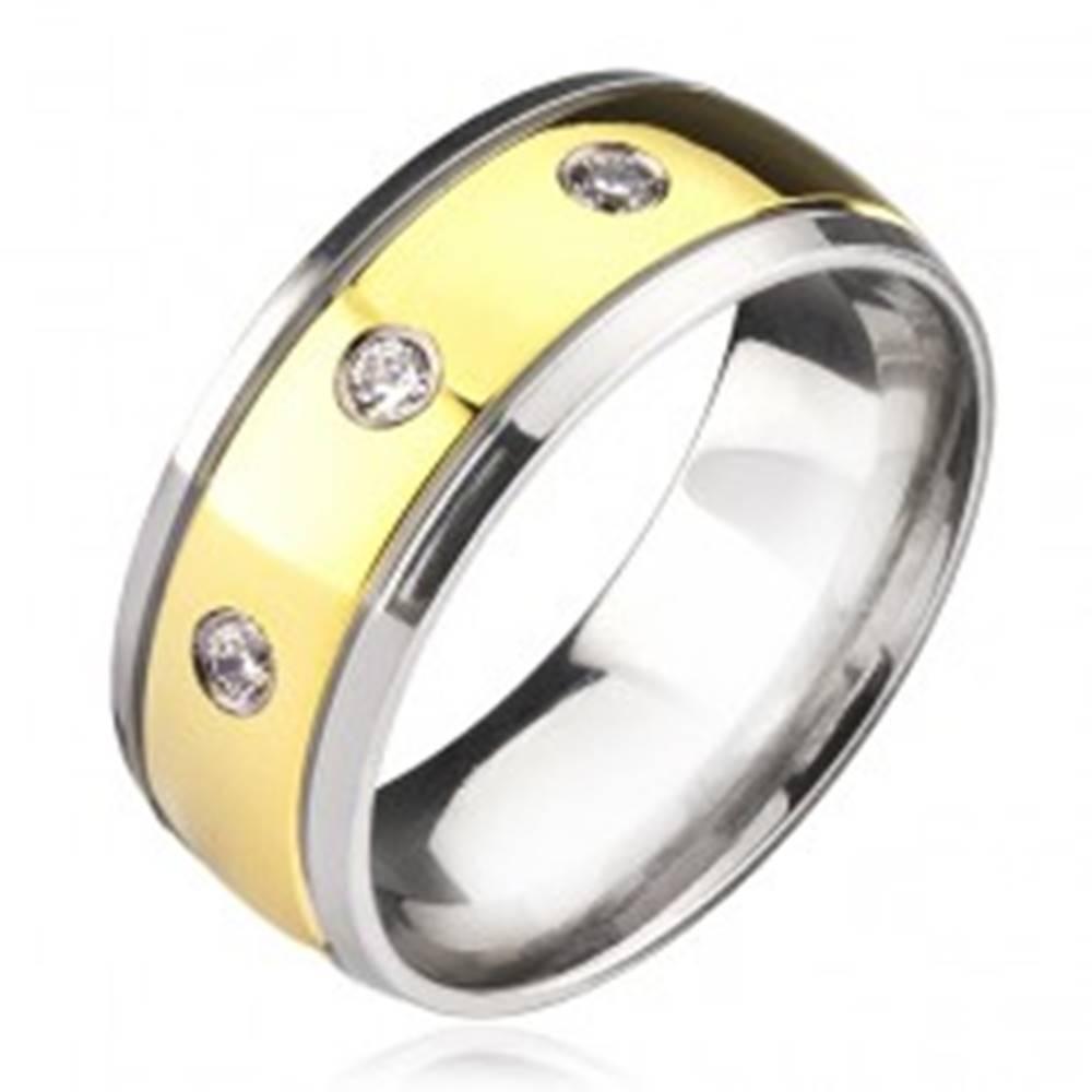 Šperky eshop Titánový prsteň - dvojfarebný so zirkónmi - Veľkosť: 57 mm