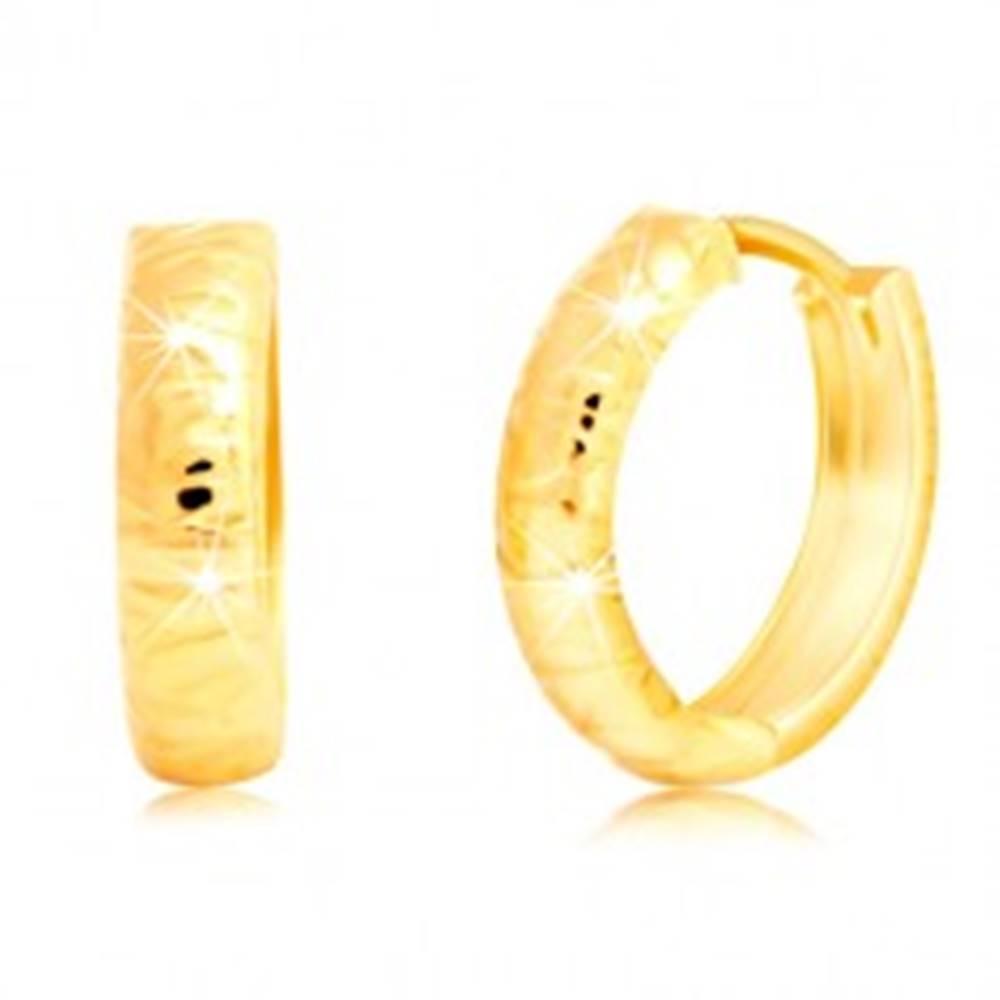 Šperky eshop Zlaté náušnice 585 - okrúhle, s plytkými nepravidelnými zárezmi