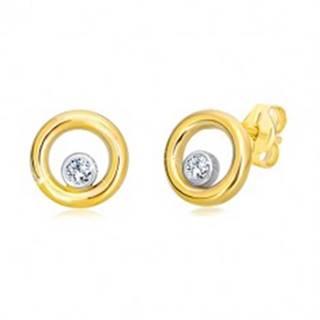 Náušnice z kombinovaného 14K zlata - úzky kruh so zirkónom v objímke