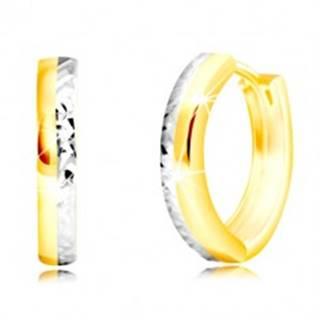 Náušnice z kombinovaného zlata 585 - úzky kruh s vybrúsenou polovicou