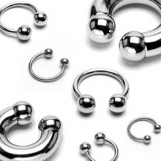 Piercing z nehrdzavejúcej ocele - väčšia lesklá podkova, guličky, hrúbka 8 mm - Hrúbka x priemer x veľkosť guličky: 8 mm x 12 mm x 10 mm