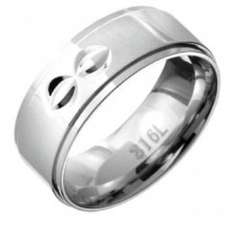 Prsteň z ocele - vystúpený stred s dvojitými polmesiačikovitými zárezmi - Veľkosť: 59 mm