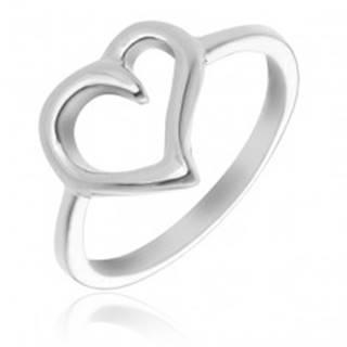 Prsteň zo striebra 925 - obrys nepravidelného srdca - Veľkosť: 49 mm