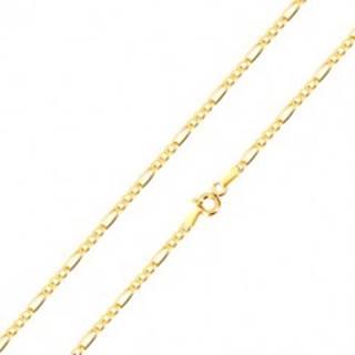 Retiazka zo zlata 585 - vzor Figaro, tri oválne a jedno podlhovasté očko, 500 mm