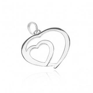 Strieborný prívesok 925 - lesklé srdce v srdci