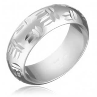 Strieborný prsteň 925 - indiánsky motív, dvojité zárezy - Veľkosť: 49 mm