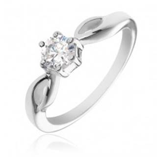 Strieborný prsteň 925 - okrúhly číry zirkón, ramená so slzičkami - Veľkosť: 50 mm