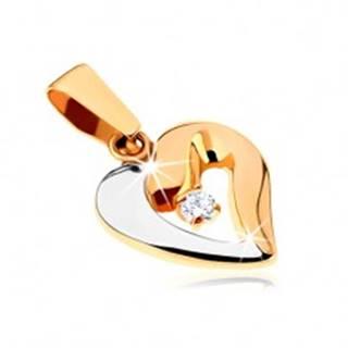 Zlatý dvojfarebný prívesok 375 - tučný obrys asymetrického srdca, zirkón